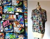 SALE 90s Vintage Nicole Miller Silk Shirt COMIC Book Skiing Print Size Medium Large// Mens Printed Shirt Comic Con comic book Print Silk