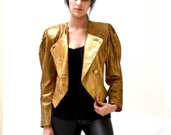 SALE Vintage Gold Leather Jacket Size XS Small // 80s Vintage Metallic Gold Leather Jacket with Leopard Print Size Small