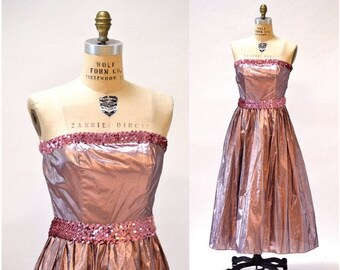 SALE Metallic 80s Prom Dress Pink Size Small Medium// Vintage 80s does 50s Party Dress Metallic Pink Sequin Strapless