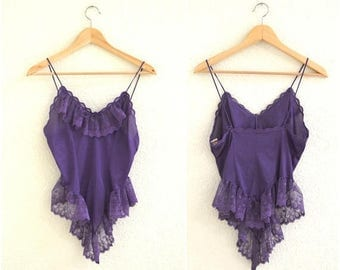 Vintage Camisole Lace Lingerie Moulin Rouge Costume// Vintage Lace Cami Tank in Purple// Vintage Lace Lingerie with Ruffles Burlesque