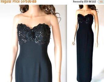 SALE 50% OFF Vintage Black Evening Gown// Black Strapless Sequin Dress By Bizar// 90s Vintage Black Beaded Dress Size Medium