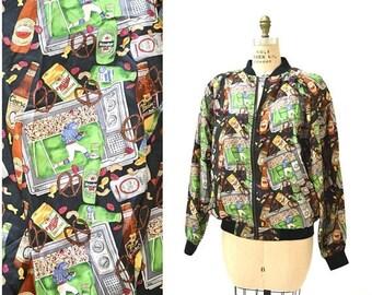 SALE 90s Nicole Miller Vintage Silk Bomber Jacket with Football Super Bowl Beer Print// Mens Jacket with Sports Beer and Football Print