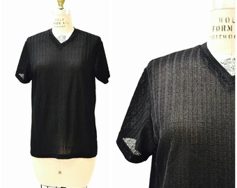 Vintage 90s Black Tee Shirt Size Large 90s Minimalist Shirt Sheer Mesh Sweater knit 90s Club Shirt