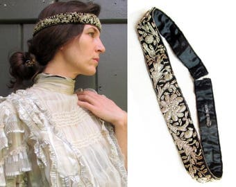 Vintage Embroidered Headband from India - Black Velvet with Silver Embroidery c.1950s