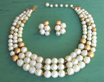 Vintage HATTIE CARNEGIE Pearl and Gold Necklace & Earring Set 1950's Designer Costume Jewelry