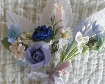 mini flowers BOUQUET blues vintage millinery cloth flowers 12 stems  tussie mussie