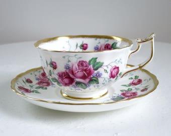 Vintage Royal Chelsea Briar Rose Teacup Set, Pink Rose Tea Cup and Saucer, Vintage Cup and Saucer, Pink Rose Teacup SwirlingOrange11