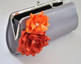 Autumn  Wedding - Fall wedding - Gray, Orange and Burnt orange - Bridal clutch / Bridesmaid clutch