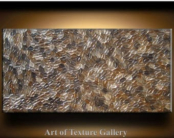 SALE Abstract Texture Painting 48 x 24 Original Modern Brown Beige Champagne Coffee Metallic Knife Sculpture Impasto Oil by Je Hlobik