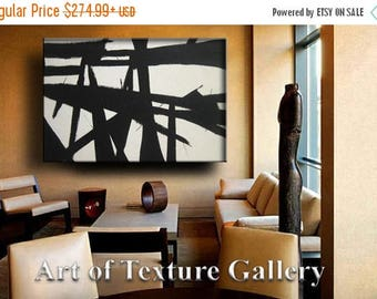 SALE Painting Huge Black White Abstract Painting Custom Original Texture Impasto Minimalist Geometric by Je Hlobik