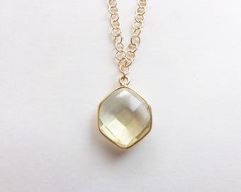 Step Cut Faceted Hexagon Lemon Quartz Vermeil Bezel Pendant on Gold Chain Necklace (N1815)
