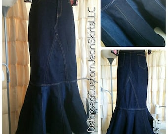 DELAROSA custom jean skirt Alevia Fit and Flair Mermaid Style denim skirt 0-2-4-6-8-10-12-14-16-18-20-22-24