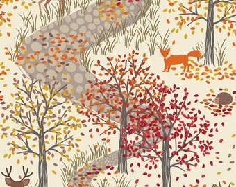 FIRST FROST A246-1 - Autumn in Bluebell Wood - Lewis and Irene Fabrics  - By the Yard