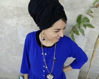 Black head scarf, israeli tichels, jewish hair covering. headscarves by oshratDesignz