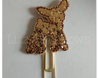 Planner clip, bookmark, planner feltie clip, felt bookmark, reindeer feltie clip,  rudolph clip, Rudolph glitter reindeer, Christmas in July