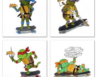 Cowabunga Dudes - Set of 4 Radical prints!