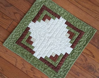 Mini Quilt, Candle Mat, Table Mat or Topper Log Cabin patchwork with a  geometric, yet country look and feel