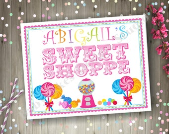 Sweet Shoppe Party Sign Candyland Party Sign Table Sign Candy Shoppe sign Party Printable