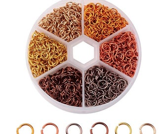 Bulk Jump Rings Split Rings Single Loop Assorted Colors with Storage Box 1080 pieces 6mm