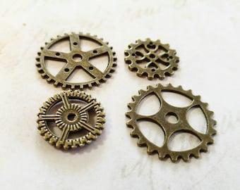 Clock Gears Clock Parts Clock Mechanism Bronze Gears Rusty Metal Gears Steampunk Gears Assorted Gears 5 pieces