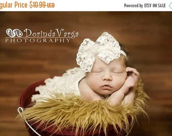12% off Newborn headband, baby headband, adult headband, photo prop The single sprinkled- Victorian lace bow- stretch headband
