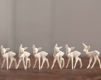 Miniature Plastic Deer - 6 Tiny Cream German Deer, Craft Figurines