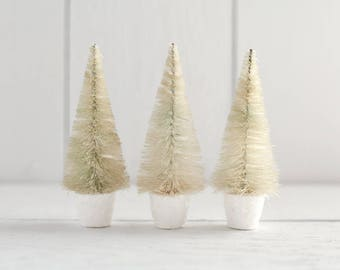 Potted Sisal Trees - 4 Inch Bleached Bottle Brush Trees in Spun Cotton Pots, 3 Pcs.
