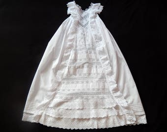 Antique Heirloom Victorian Christening Gown English with Embroidery and Ruffles