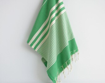 NEW / SALE 50 OFF/ Turkish Beach Bath Towel / Classic Peshtemal / Green / Wedding Gift, Spa, Swim, Pool Towels and Pareo