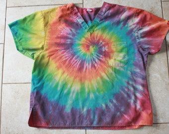 Tie Dye Scrubs Shirt   Size 2XL upcycled