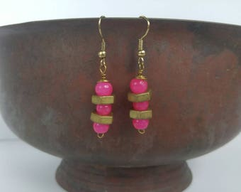 Pink and Brass Stack Dangles - Upcycled Hardware Jewelry