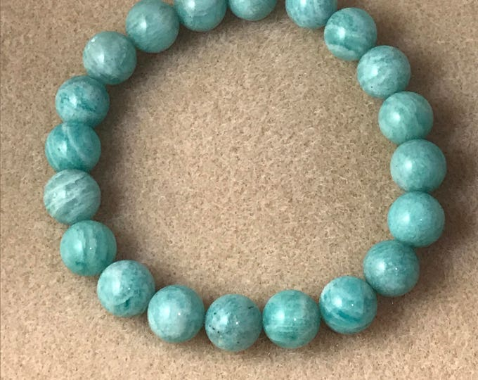 RARE Light Russian Amazonite 10mm Round Stretch Bead Bracelet with Sterling Silver Accent