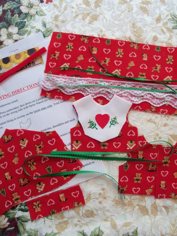 """14"""" Size/ Complete Sewing Kit to Make Embroidered Christmas Dress  for 14"""" WELLIE WiSHER Dolls"""