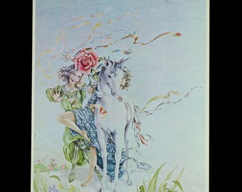 UNICORN and the YOUNG MAIDEN, Full Color Book Plate Art Print by Lynn Teeples, 1978