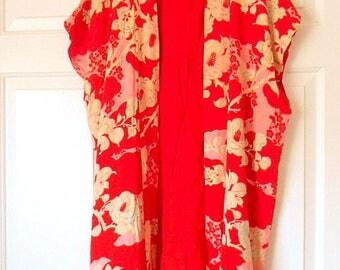 Vintage SILK red maxi length Kimono