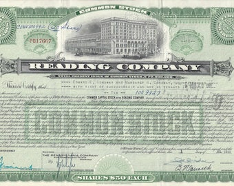 Vintage Reading Company Original Stock Certificate Less than 100 Shares (green), 1955
