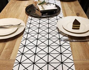Table Runner Geometric Black White Dinning,Party,Christmas,Wedding,Birthday,Shower Gift-Cotton 2 Color,Modern European,Custom Made,FREE GIFT