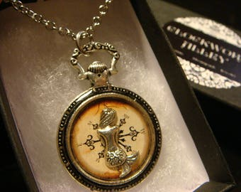 Mermaid Compass Pocket Watch Style Pendant Necklace (2420)