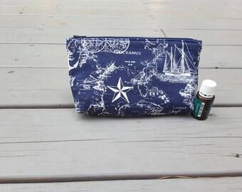 Oil Bag  Nautical Fabric  8 Pockets Nail Polish Bag  Essential Oils Bag  Travel Oil Bag  Cosmetic Bag Fabric Pouch Monogram Oil Accessories