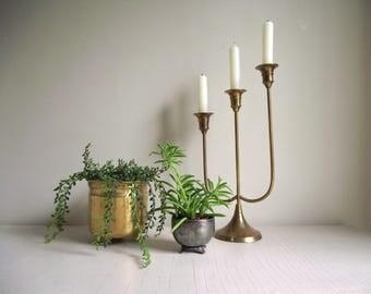 Brass Candelabra , 3 Tiered Candlestick Holder, Vintage India Brass Candle Holder , Three Arm Candelabra