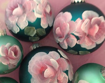 Hp shabby cortage roses ball ornaments set of 6 victoiran french teal pink