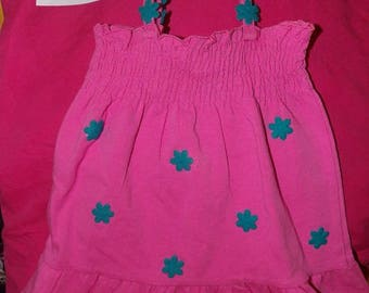 Size 6 to 9 months hot pink sun dress & matching panties trimmed with teal blue flowers - k08a1