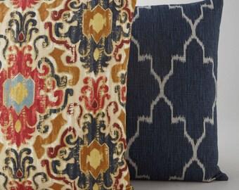 Pillow Cover, Cushion Red ikat suzani tribal red gray grey gold navy, trellis companion nav