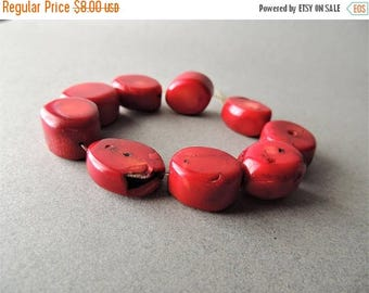 30% OFF Bamboo Coral, 9 Beads, Large Coral Beads, Red Coral, Smooth Nuggets, Summer Fashion