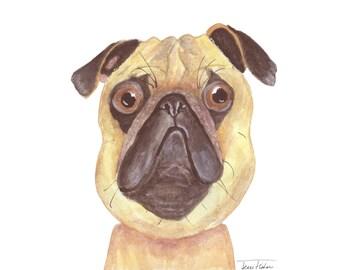 Pug dog art print, house pet animal face mugshot picture, illustration, watercolor painting sketchbook art, pug lover friend, childs room