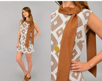 SUMMER SALE 60's Geometric Mod Mini Dress