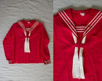 Vintage 1920's Red Cotton Sailor Top, Sailor Shirt, Nautical, 20s Shirt, 20s Blouse, Women's XS SM