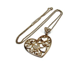 Sterling Silver Vermeil Gold Heart Pendant, 20 Inch Adjustable Chain, Vintage Jewelry, Pave CZ, Floating Heart Necklace