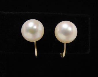 TIFFANY & Co 14K Gold Pearl Vintage Earrings