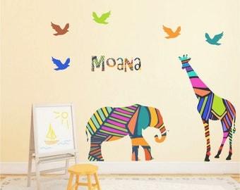Giraffe wall decals, Elephant Wall decal, Nursery Decor, Girl Nursery, Personalized name decal, Baby gift, Geometric animals, safari animals
